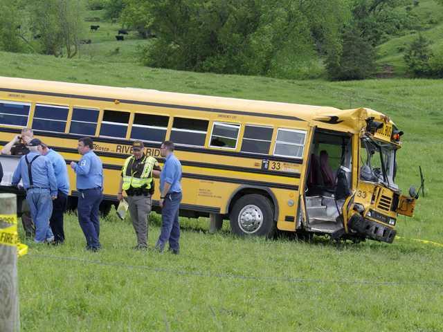 School bus collides with dump truck in River Ridge