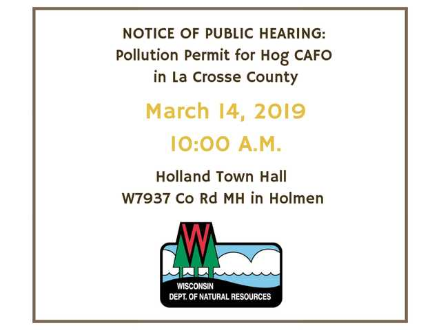 Hearing planned on water permit for LaCrosse County CAFO