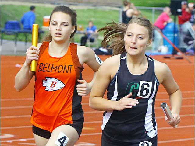 Belmont girls' 3,200 relay win conference title
