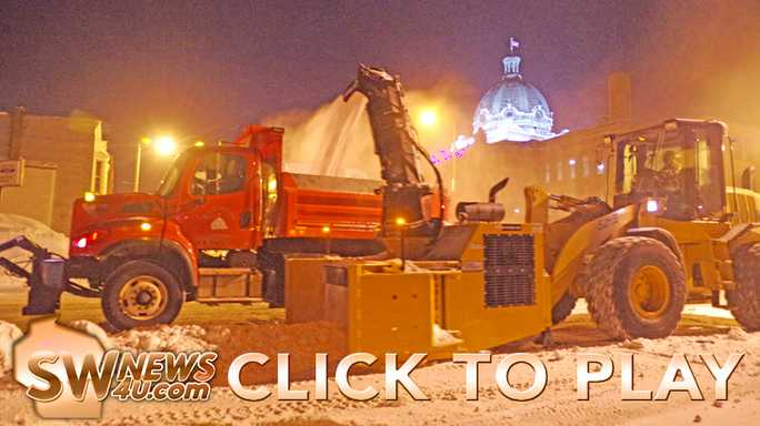 City crews removed snow from downtown Lancaster