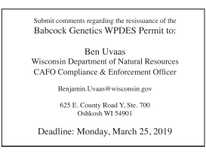 Babcock Genetics WPDES Permit Hearing