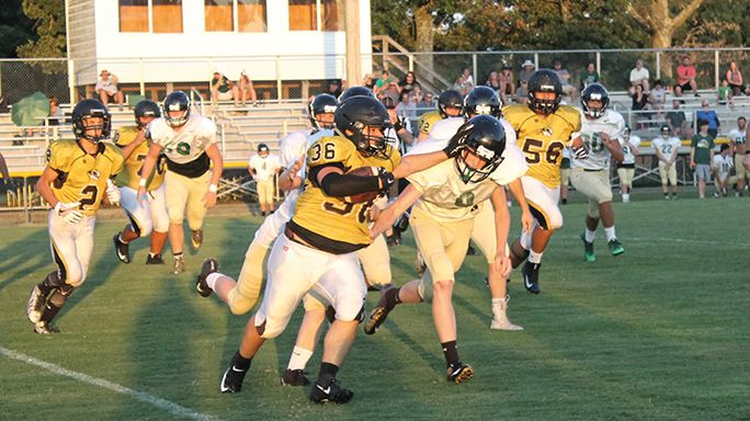 Thomas Trigueros bulldozes through the Friendship Christian line during the DeKalb County Tigers' last tune up for their regular season opener with Warren County this Friday night.