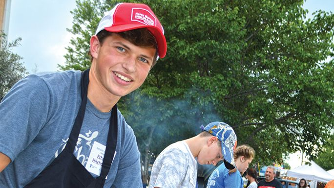 Teen griller Ethan Hitchcock earned the title of master griller, and took home the first-place trophy at the close of the Grillin' in McMinnville event.